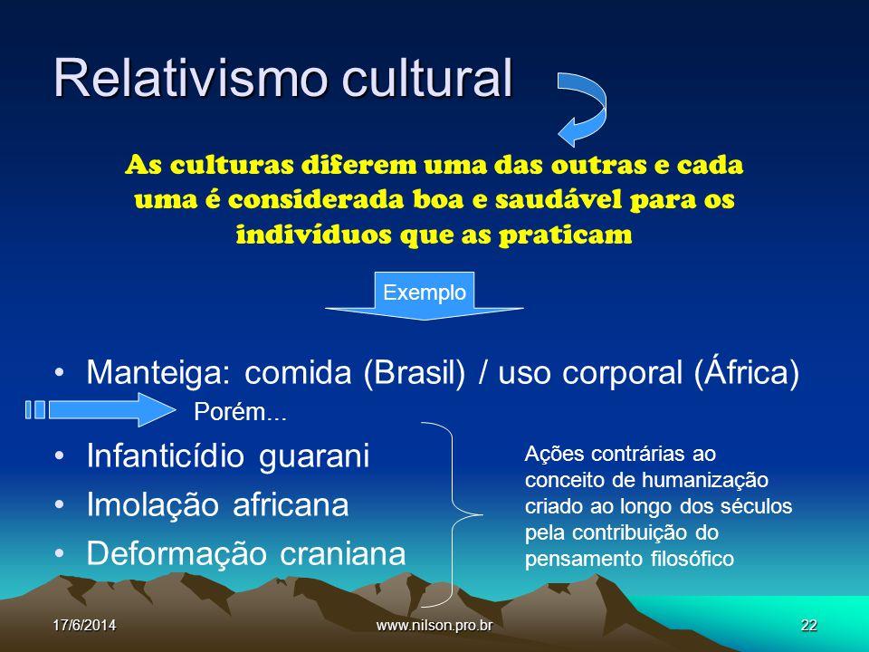 Relativismo cultural Manteiga: comida (Brasil) / uso corporal (África)