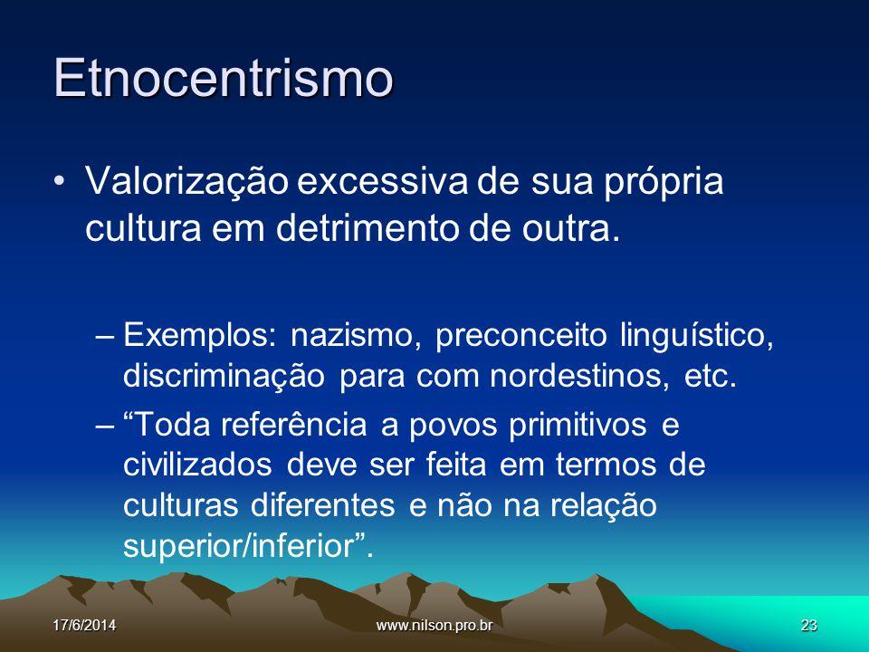 Etnocentrismo Valorização excessiva de sua própria cultura em detrimento de outra.