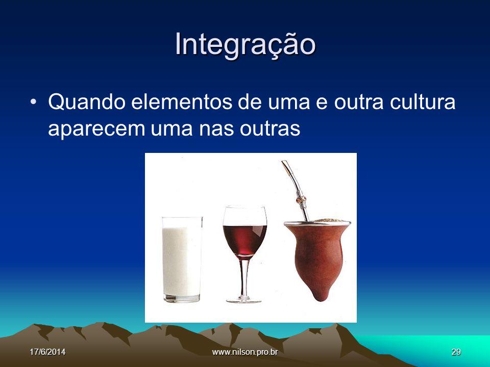 Integração Quando elementos de uma e outra cultura aparecem uma nas outras.