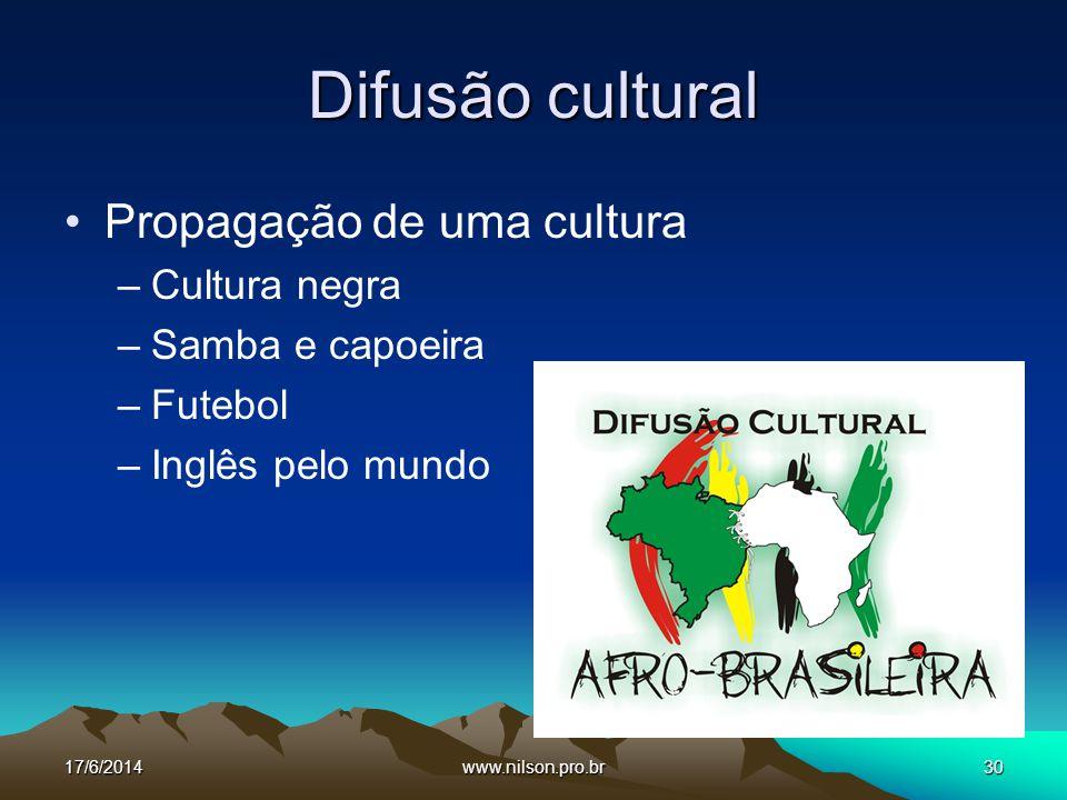 Difusão cultural Propagação de uma cultura Cultura negra