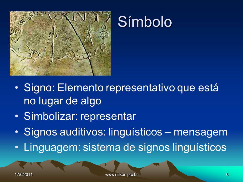 Símbolo Signo: Elemento representativo que está no lugar de algo