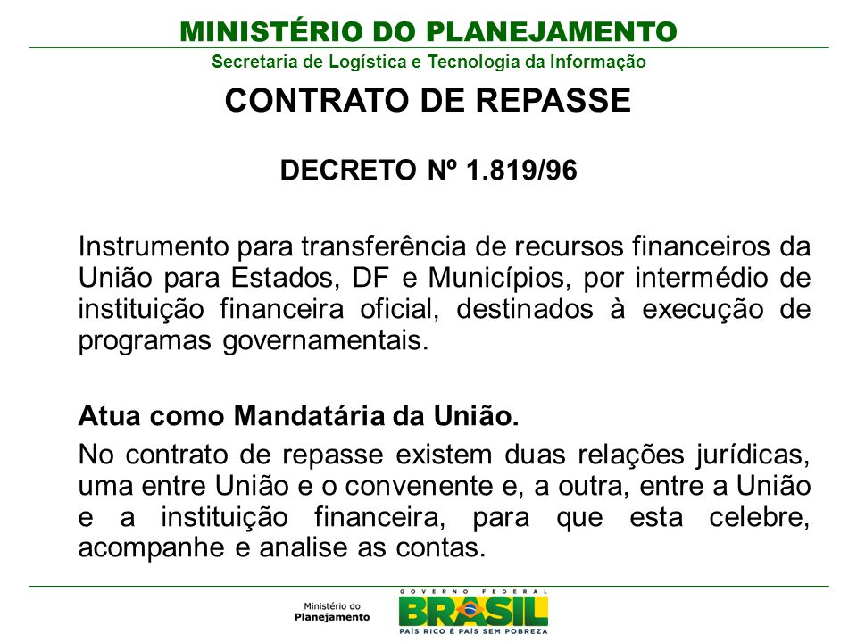 CONTRATO DE REPASSE DECRETO Nº 1.819/96