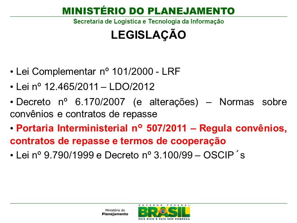 LEGISLAÇÃO Lei Complementar nº 101/2000 - LRF