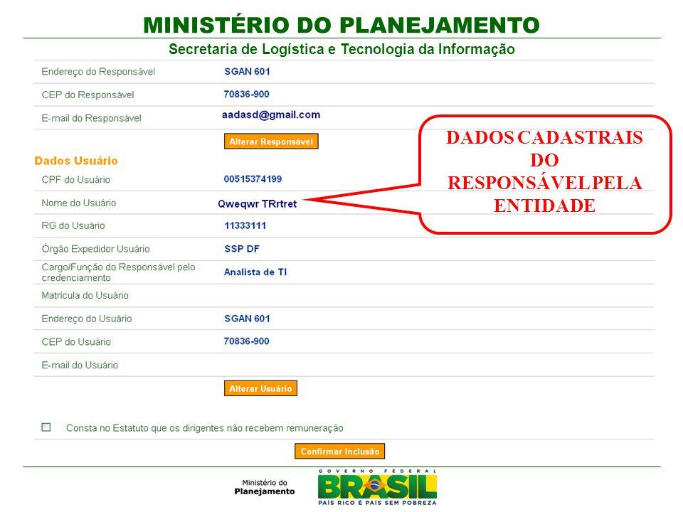 DADOS CADASTRAIS DO RESPONSÁVEL PELA ENTIDADE