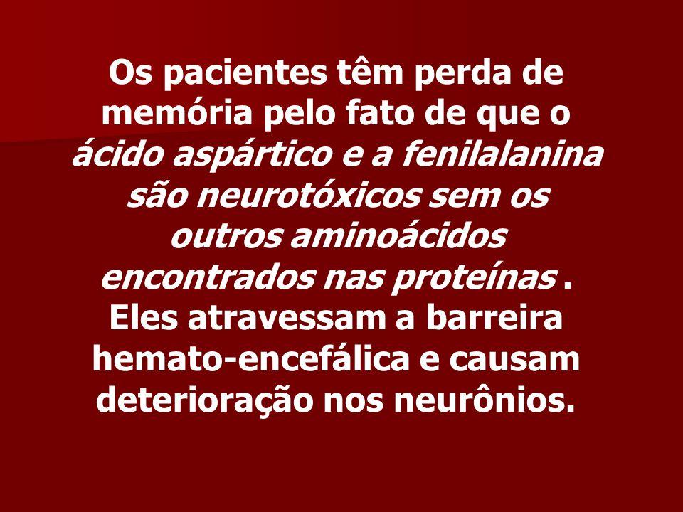 Os pacientes têm perda de memória pelo fato de que o ácido aspártico e a fenilalanina são neurotóxicos sem os outros aminoácidos encontrados nas proteínas .