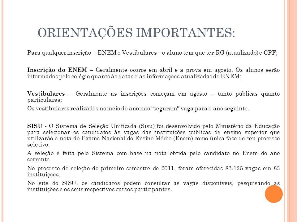 ORIENTAÇÕES IMPORTANTES: