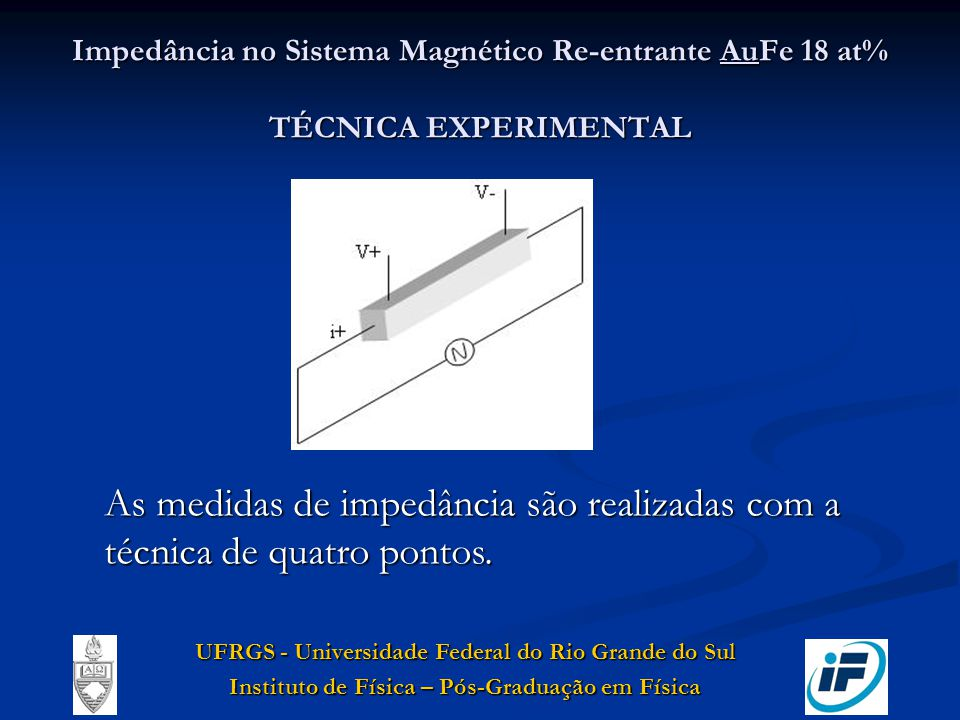 Impedância no Sistema Magnético Re-entrante AuFe 18 at% TÉCNICA EXPERIMENTAL