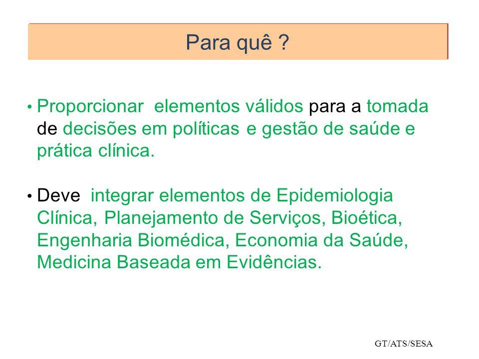 Para quê Proporcionar elementos válidos para a tomada de decisões em políticas e gestão de saúde e prática clínica.