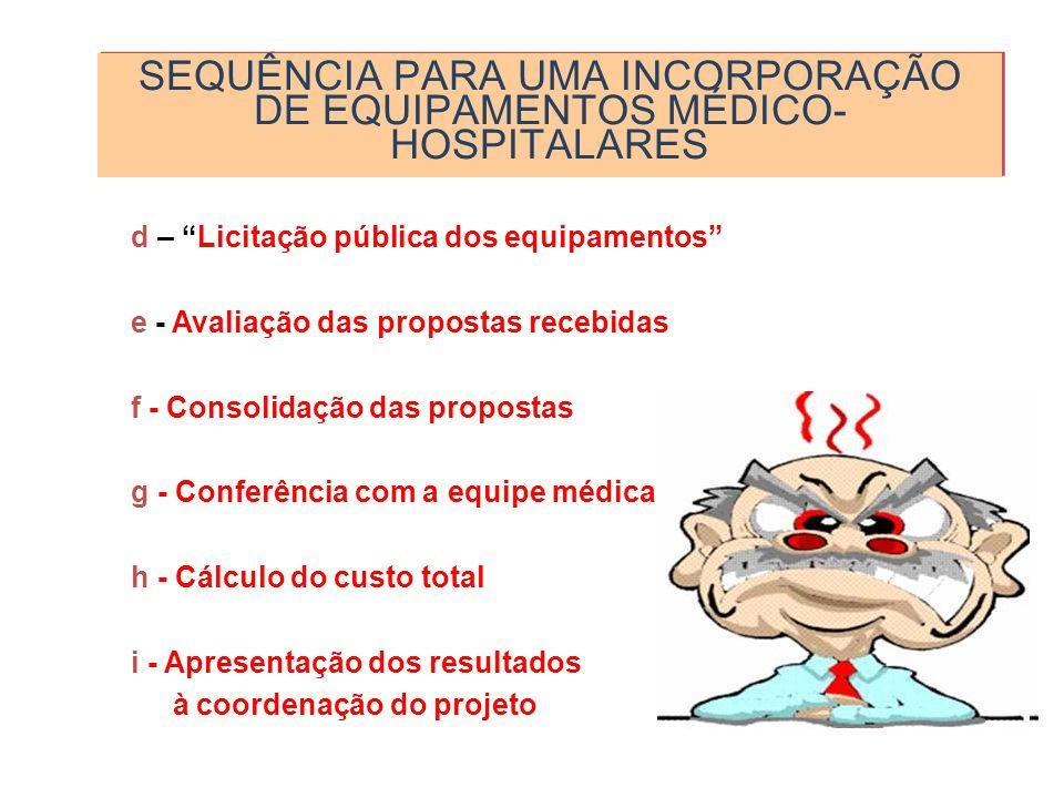 SEQUÊNCIA PARA UMA INCORPORAÇÃO DE EQUIPAMENTOS MÉDICO-HOSPITALARES