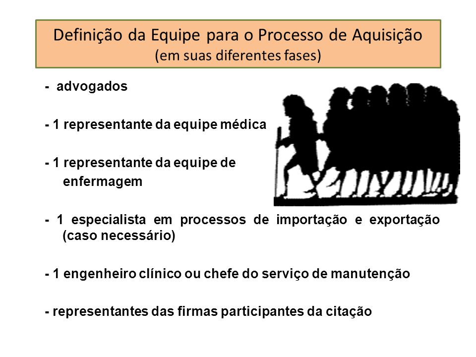 Definição da Equipe para o Processo de Aquisição (em suas diferentes fases)