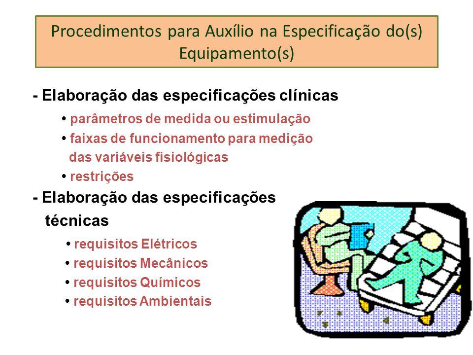 Procedimentos para Auxílio na Especificação do(s) Equipamento(s)