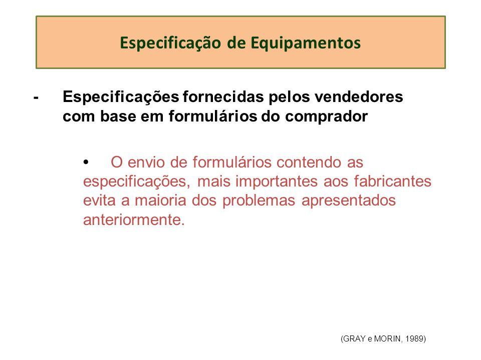 Especificação de Equipamentos