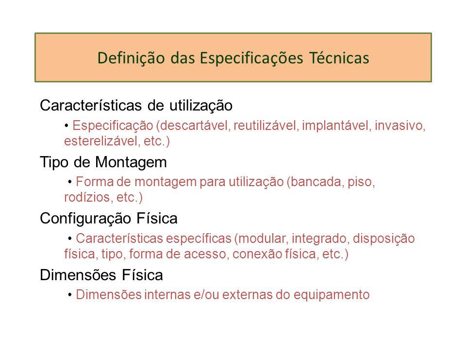 Definição das Especificações Técnicas
