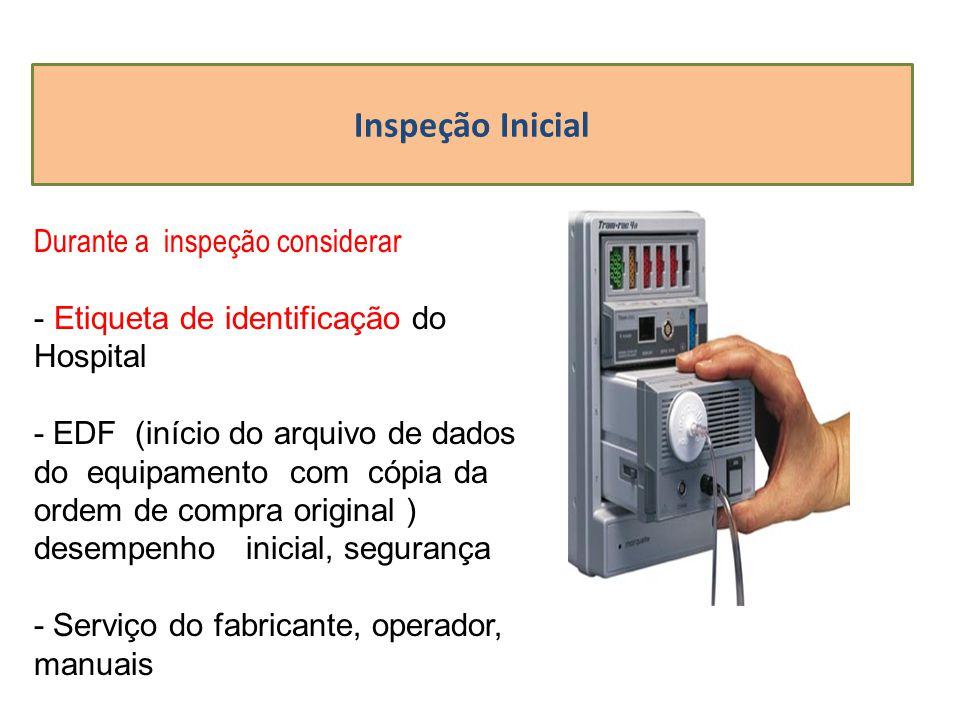 Inspeção Inicial Durante a inspeção considerar