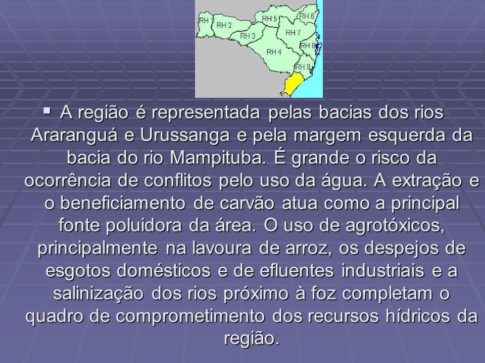 A região é representada pelas bacias dos rios Araranguá e Urussanga e pela margem esquerda da bacia do rio Mampituba.
