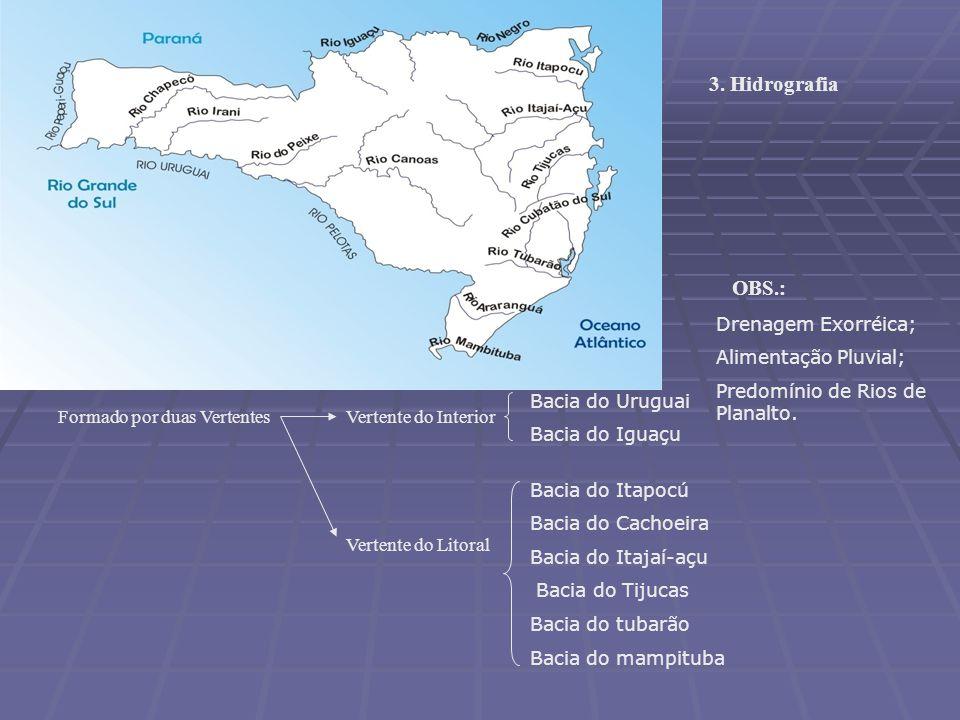 3. Hidrografia OBS.: Drenagem Exorréica; Alimentação Pluvial;