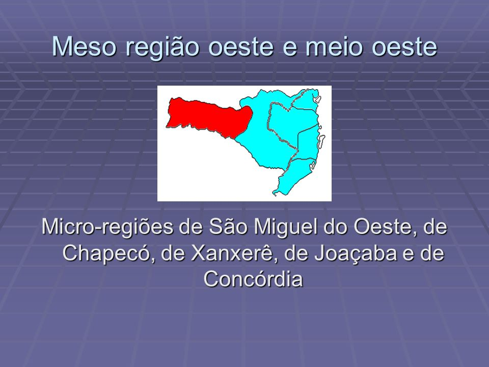 Meso região oeste e meio oeste