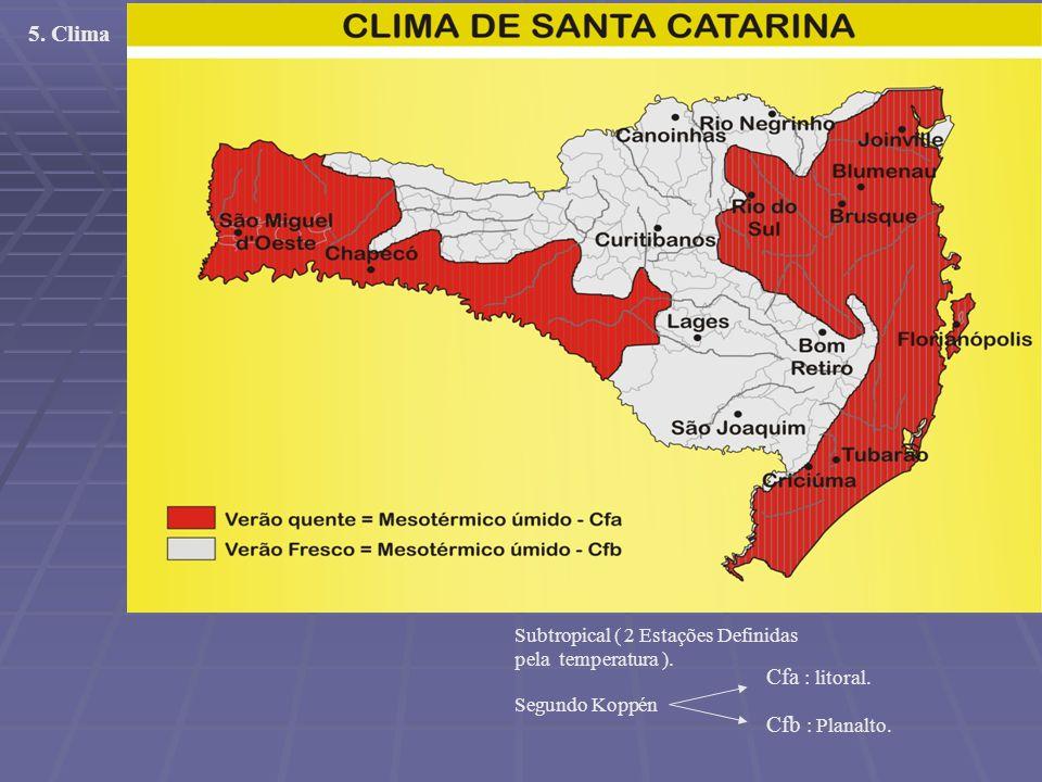 5. Clima Cfa : litoral. Cfb : Planalto.