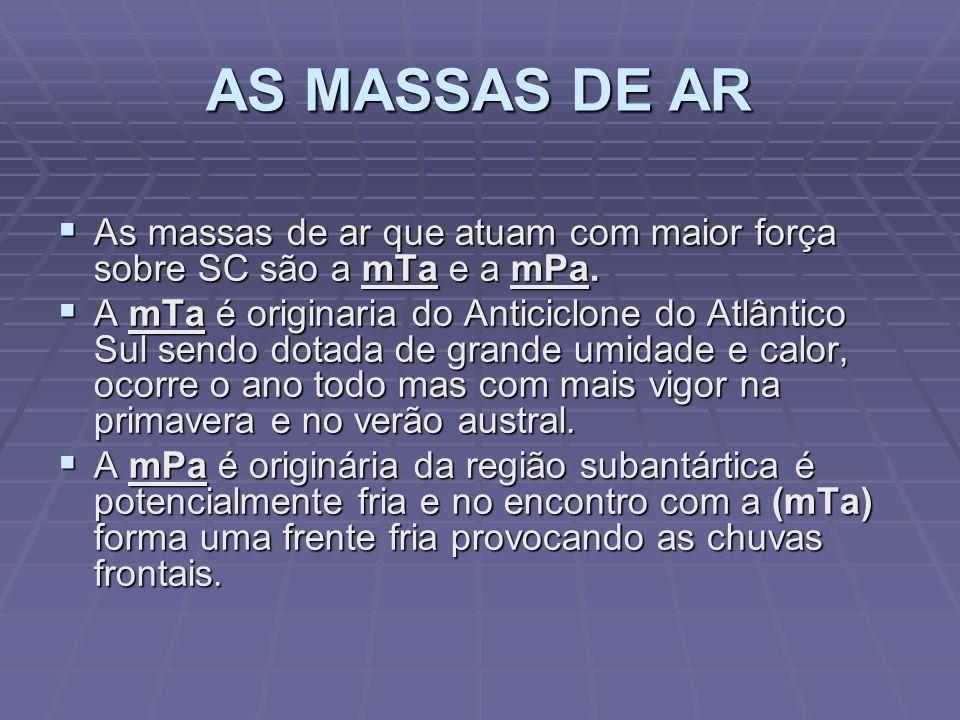 AS MASSAS DE AR As massas de ar que atuam com maior força sobre SC são a mTa e a mPa.
