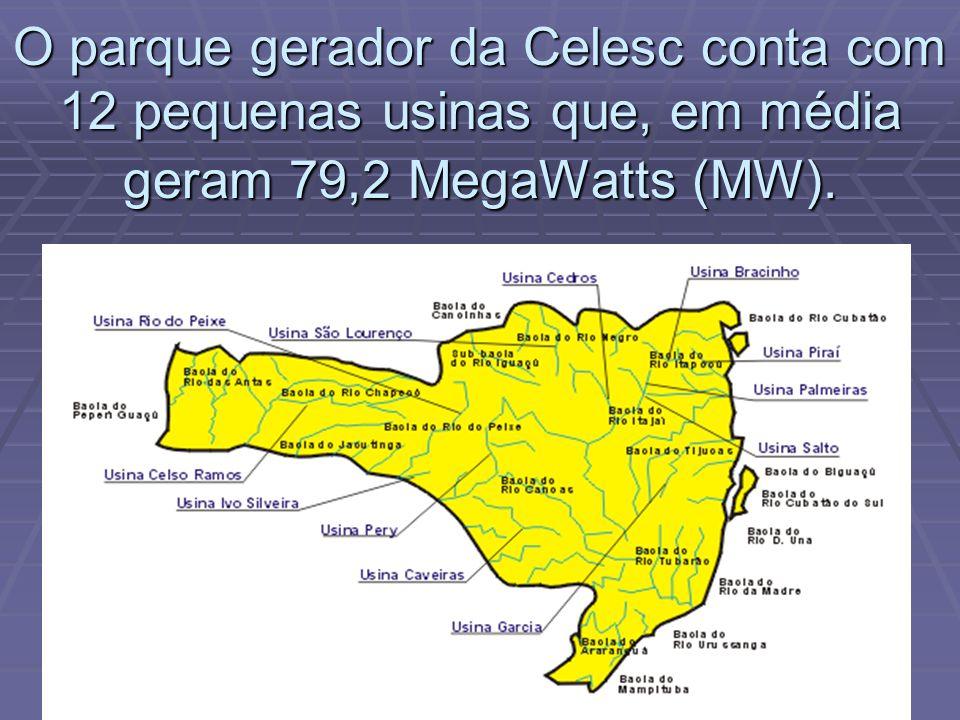 O parque gerador da Celesc conta com 12 pequenas usinas que, em média geram 79,2 MegaWatts (MW).