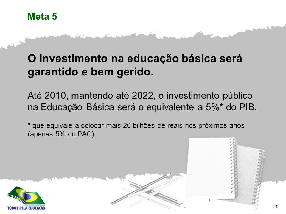 O investimento na educação básica será garantido e bem gerido.