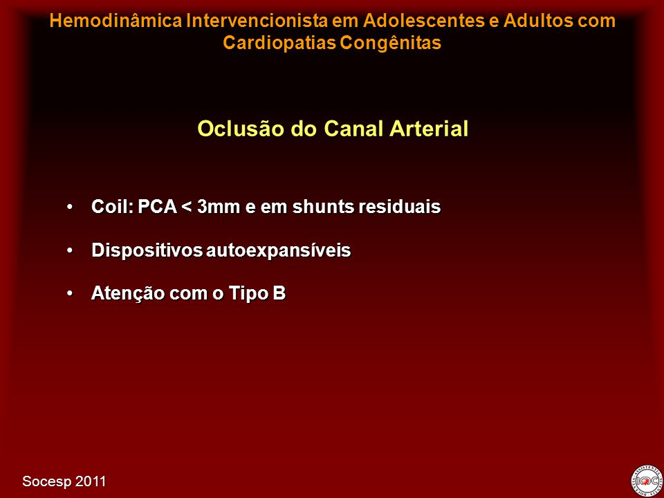 Oclusão do Canal Arterial