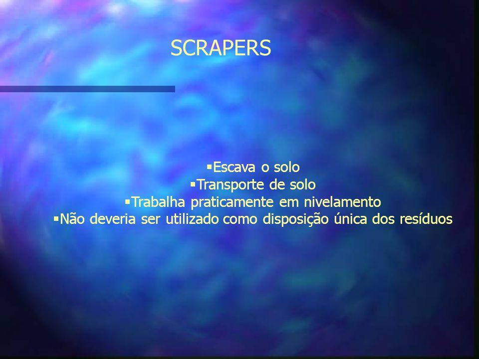 SCRAPERS Escava o solo Transporte de solo