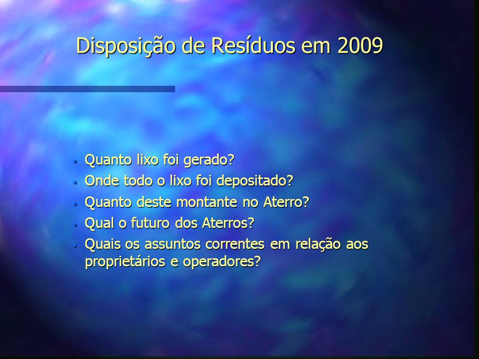 Disposição de Resíduos em 2009