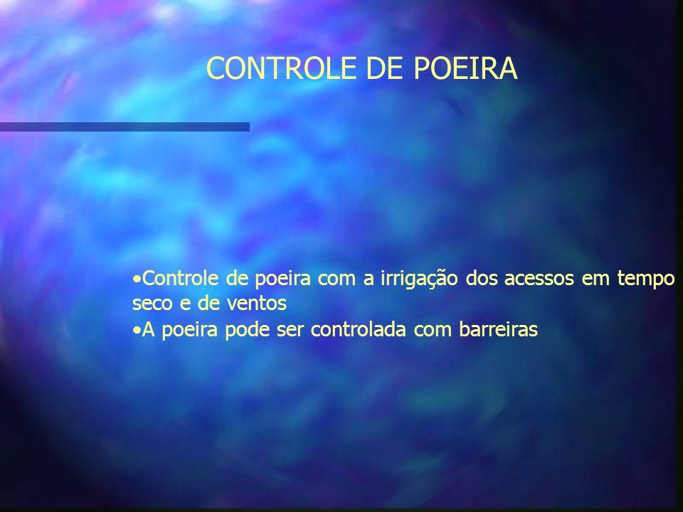 CONTROLE DE POEIRA Controle de poeira com a irrigação dos acessos em tempo seco e de ventos.