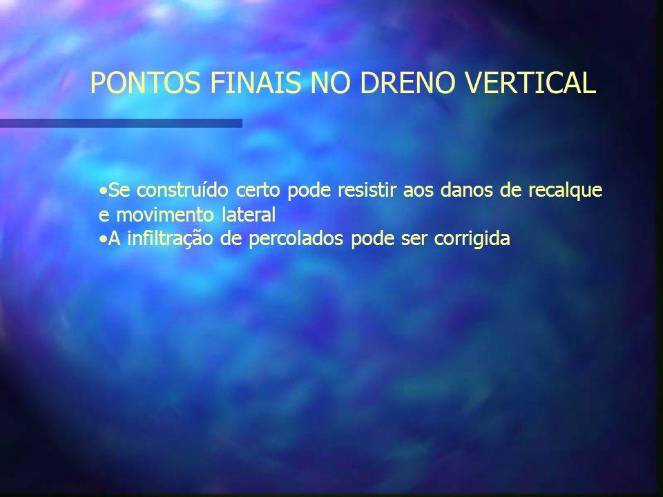 PONTOS FINAIS NO DRENO VERTICAL