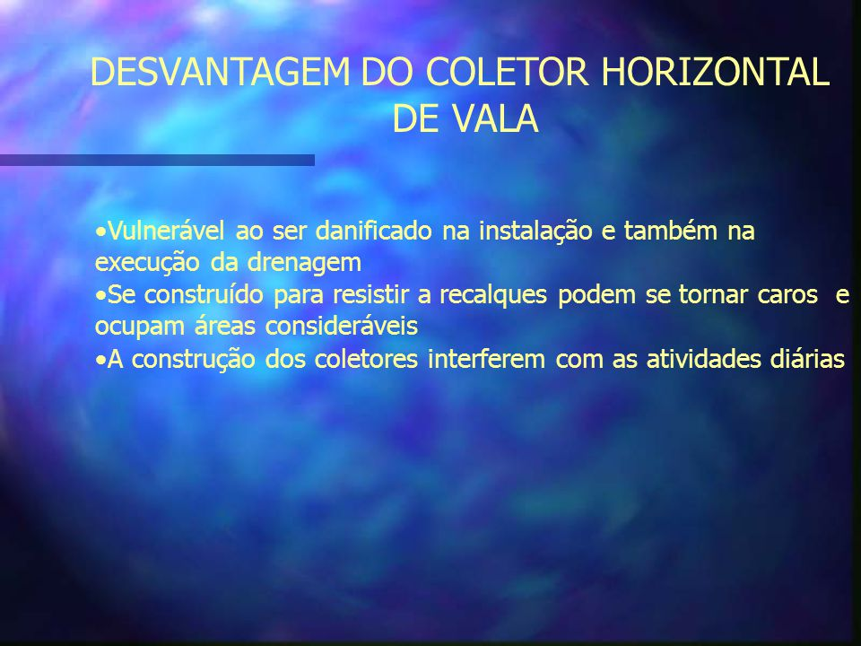 DESVANTAGEM DO COLETOR HORIZONTAL