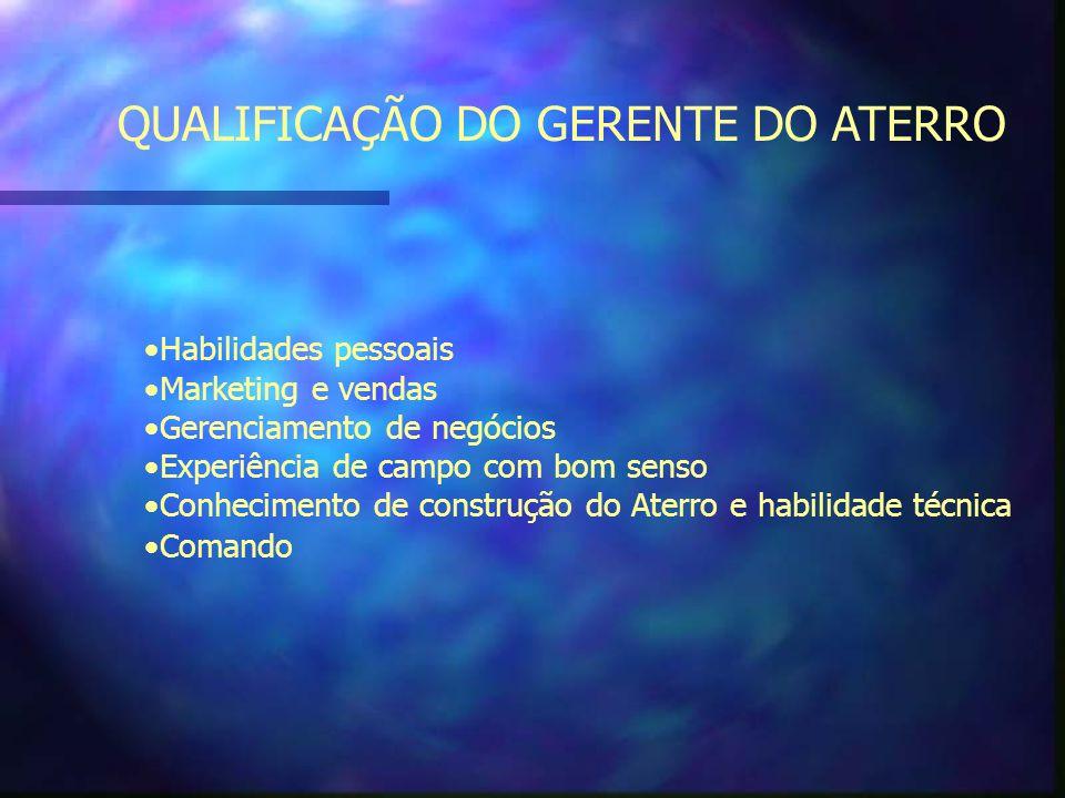 QUALIFICAÇÃO DO GERENTE DO ATERRO