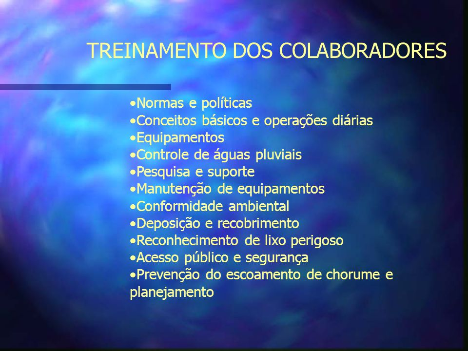TREINAMENTO DOS COLABORADORES