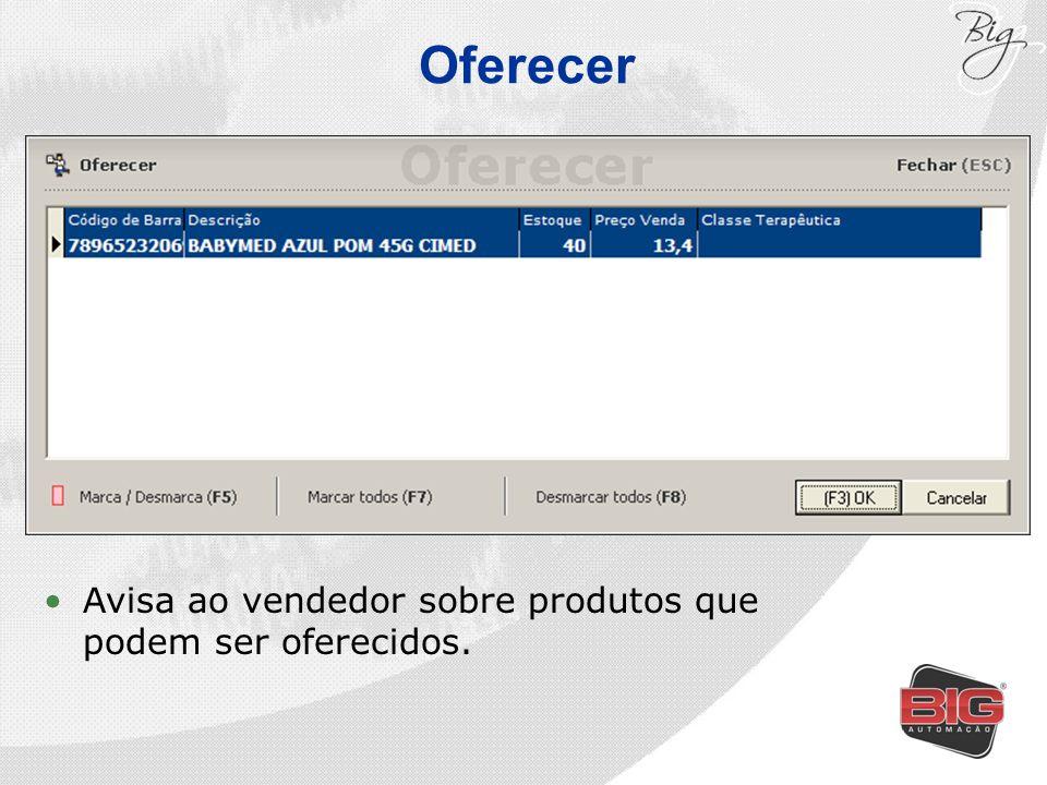 Oferecer Avisa ao vendedor sobre produtos que podem ser oferecidos.