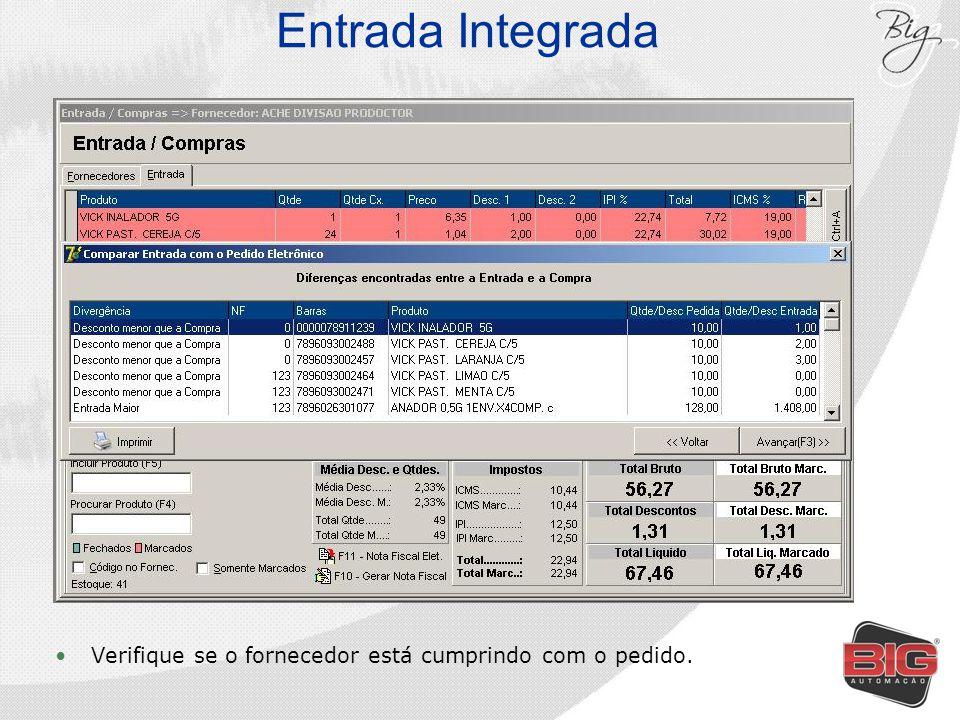Entrada Integrada Verifique se o fornecedor está cumprindo com o pedido.