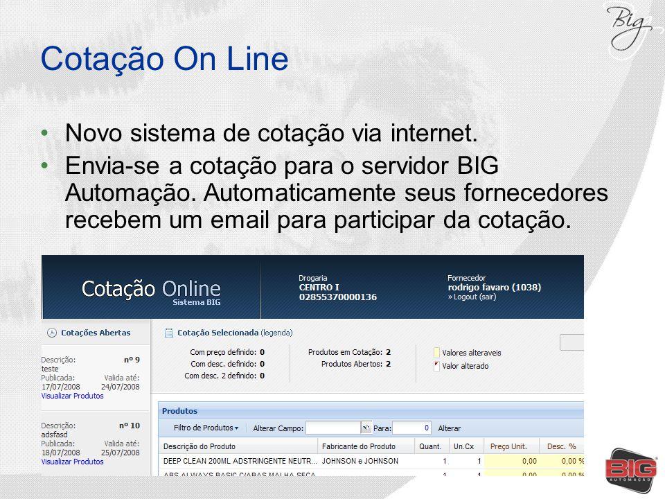 Cotação On Line Novo sistema de cotação via internet.