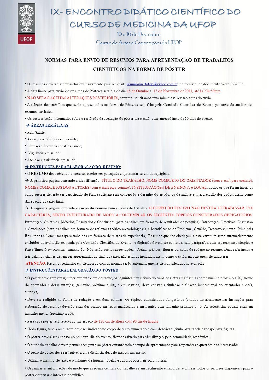 IX- ENCONTRO DIDÁTICO CIENTÍFICO DO CURSO DE MEDICINA DA UFOP