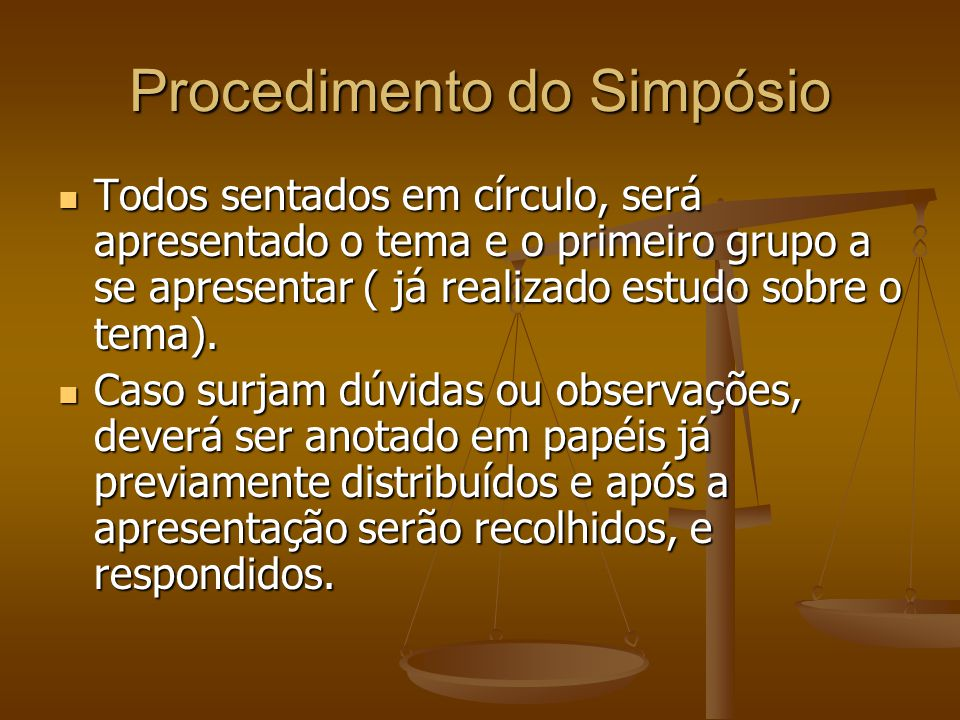 Procedimento do Simpósio