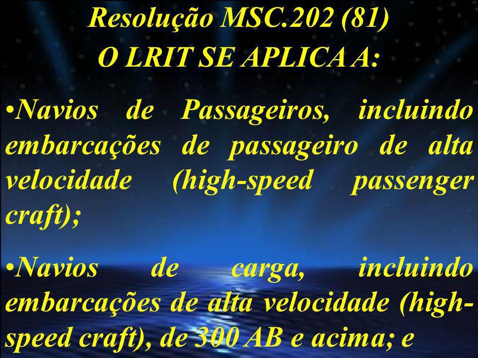 Resolução MSC.202 (81) O LRIT SE APLICA A: