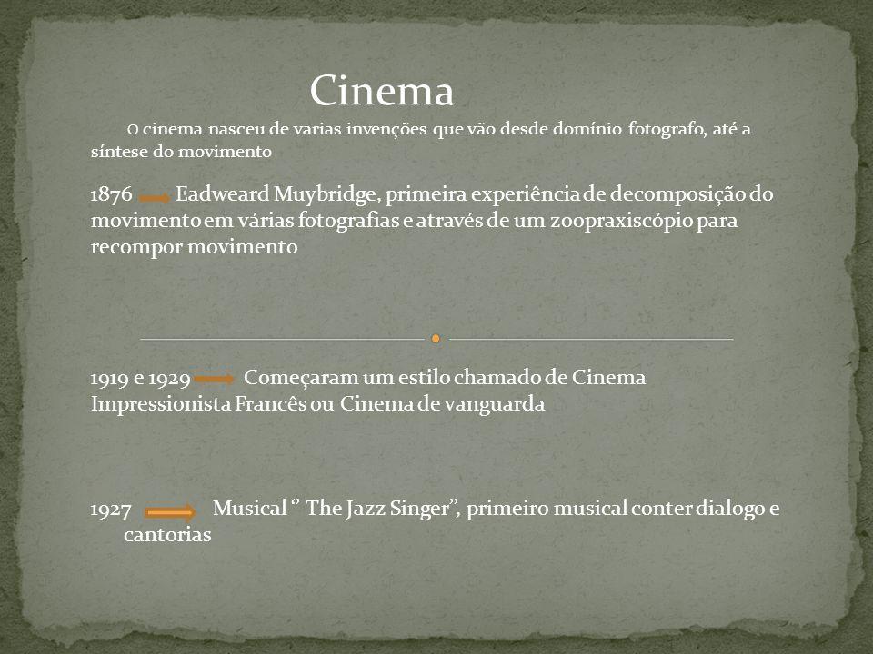 Cinema O cinema nasceu de varias invenções que vão desde domínio fotografo, até a síntese do movimento.