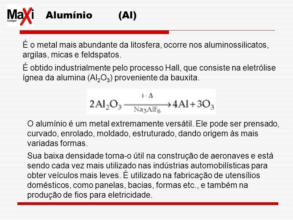Alumínio (Al) É o metal mais abundante da litosfera, ocorre nos aluminossilicatos, argilas, micas e feldspatos.