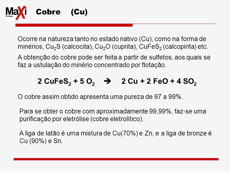 Cobre (Cu) 2 CuFeS2 + 5 O2  2 Cu + 2 FeO + 4 SO2