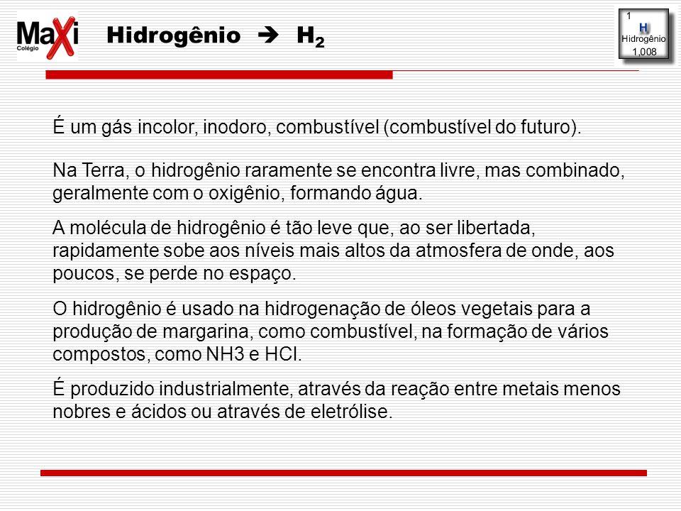 Hidrogênio  H2 É um gás incolor, inodoro, combustível (combustível do futuro).