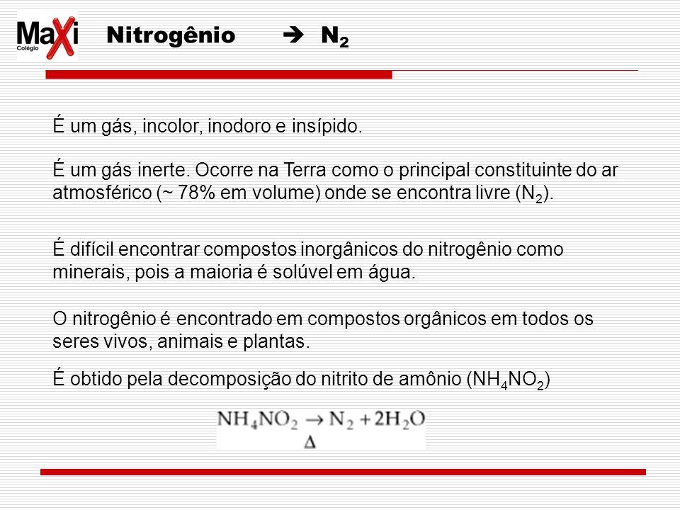 Nitrogênio  N2 É um gás, incolor, inodoro e insípido.