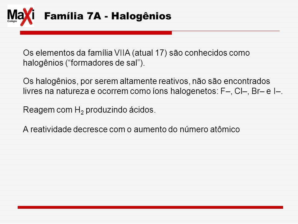 Família 7A - Halogênios Os elementos da família VIIA (atual 17) são conhecidos como halogênios ( formadores de sal ).
