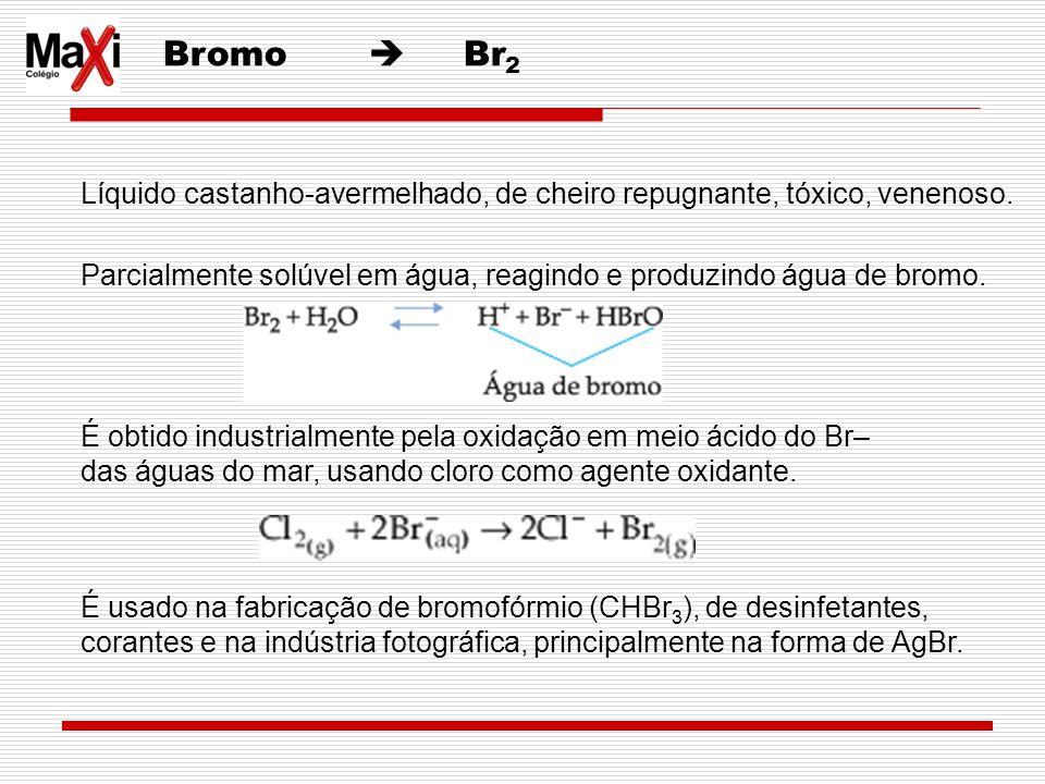 Bromo  Br2 Líquido castanho-avermelhado, de cheiro repugnante, tóxico, venenoso.