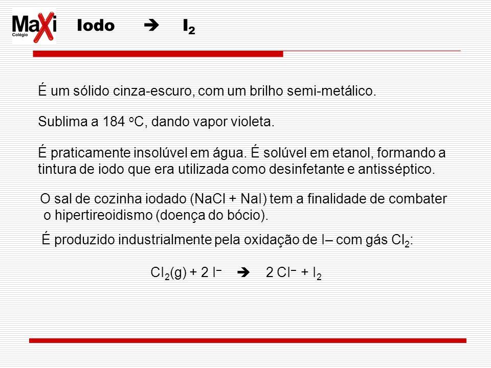 Iodo  I2 É um sólido cinza-escuro, com um brilho semi-metálico.