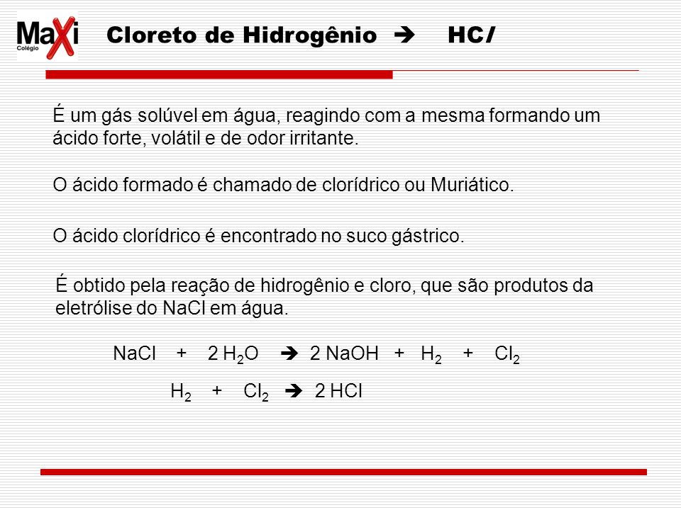 Cloreto de Hidrogênio  HCl