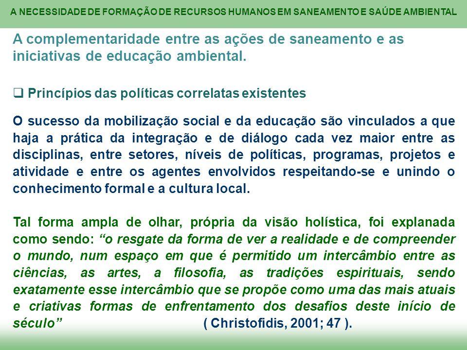 A complementaridade entre as ações de saneamento e as iniciativas de educação ambiental.