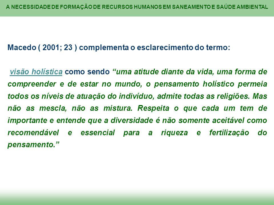 Macedo ( 2001; 23 ) complementa o esclarecimento do termo:
